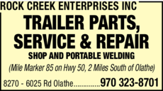 Yellow Pages Ad of Rock Creek Enterprises Inc