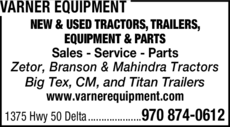 Yellow Pages Ad of Varner Equipment
