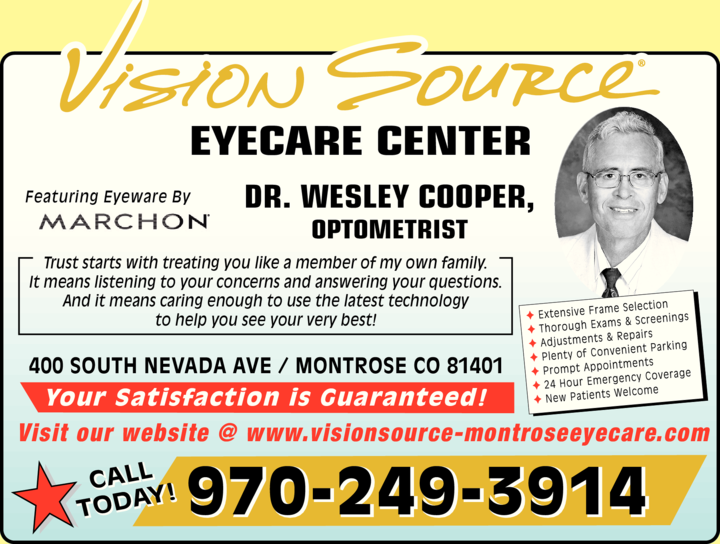 Yellow Pages Ad of Vision Source Eyecare Center