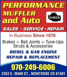 Yellow Pages Ad of Performance Muffler & Auto