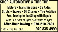 Yellow Pages Ad of Shop Automotive & Tire Pros