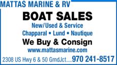 Yellow Pages Ad of Mattas Marine & Rv