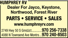 Yellow Pages Ad of Humphrey Rv