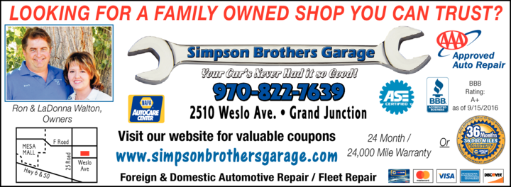 Yellow Pages Ad of Simpson Brothers Garage