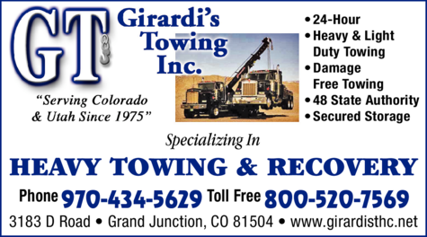 Yellow Pages Ad of Girardi's Towing Inc