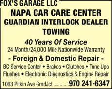 Yellow Pages Ad of Fox's Garage Llc