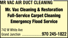 Print Ad of Mr Vac Cleaning And Restoration