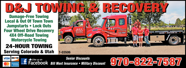 Yellow Pages Ad of D & J Towing & Recovery