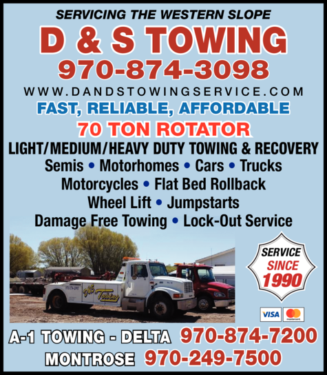 Yellow Pages Ad of D & S Towing