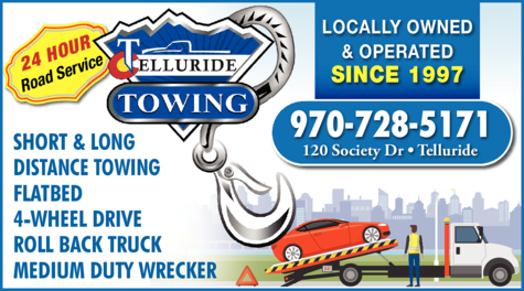 Yellow Pages Ad of Telluride Tire & Towing