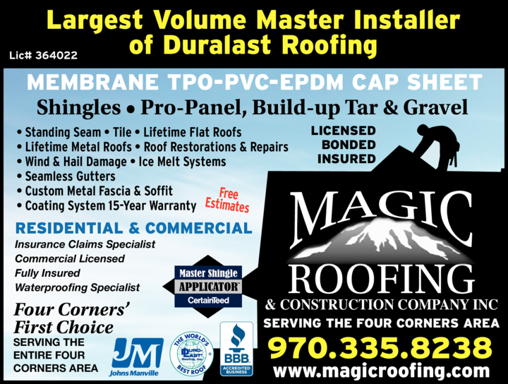 Yellow Pages Ad of Magic Roofing & Construction Company Inc
