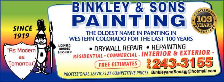 Print Ad of Binkley & Sons Painting