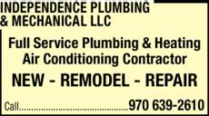 Print Ad of Independence Plumbing & Mechanical Llc
